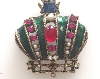 Vintage Crown Jeweled Brooch