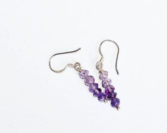 Ombre Shaded Amethyst Earrings on Sterling Silver Earwires - February's Birthstone - Birthday Gift -Bridesmaid's Gift