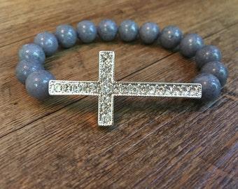 Silver Pave Cross Bead Bracelet