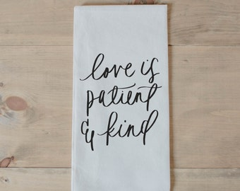 Bible verse towel etsy love is patient tea towel present housewarming gift hand towel bible verse negle Image collections