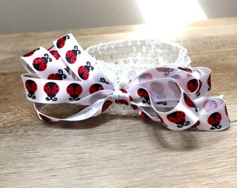 Ladybug stretchy crochet headband,baby/infant/toddler headband,white crochet headband,headband with ladybug bow,soft headband