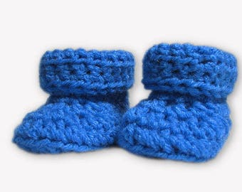Baby Booties Crochet, baby boy booties, Size Newborn to 3 months, blue crochet booties, newborn baby booties, baby shower gift boy