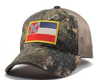 Homeland Tees Mississippi Flag Hat - Realtree Camo Trucker