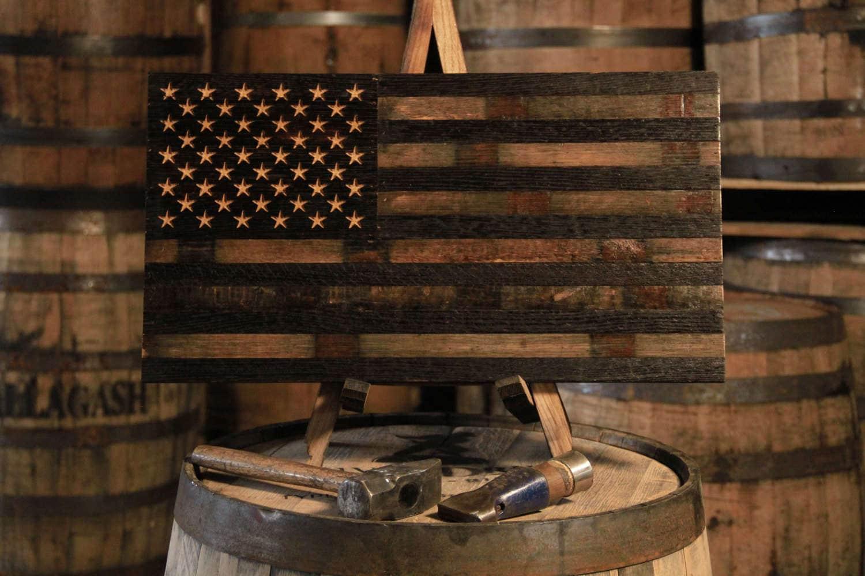Bourbon Whiskey Barrel Flag Usa Flag Made From Oak