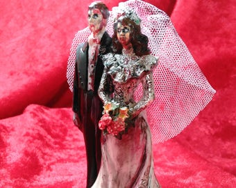 Zombie Wedding Cake Topper  Bride and Groom