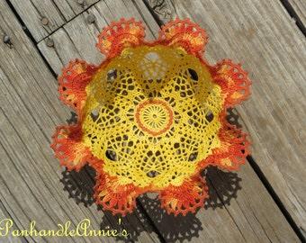 Handmade Crocheted Sunflower Bloom Bowl
