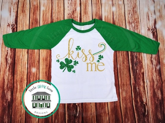 Kiss Me | St. Patrick's Day Shirt | St. Patty's Day Shirt | Raglan Baseball Shirt | Girls Toddler Shirt | Lucky Shamrock Clover Shirt