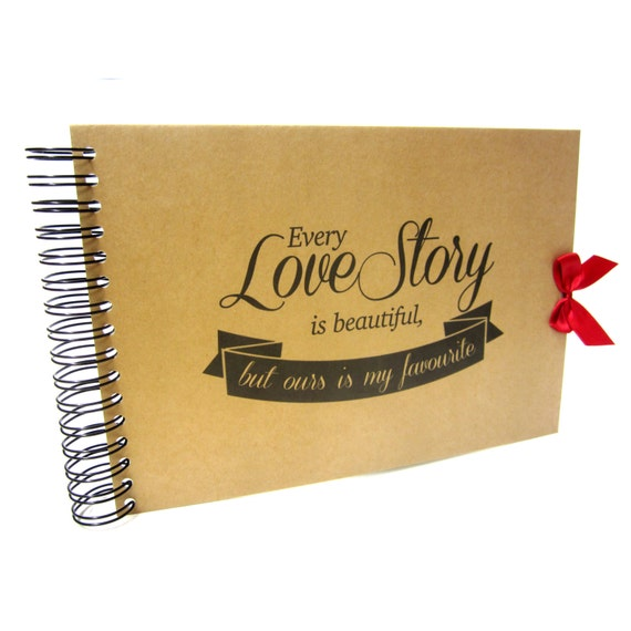 A5 A4, Every Love Story is Beautiful Scrapbook, Landscape, Card Pages, Photo Album, Keepsake,
