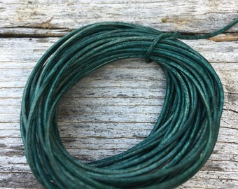 1mm natural turquoise green round leather cord, turquoise distressed leather, 15'