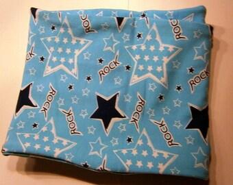 Loop scarf for kids, rock stars, soft jersey, handmade, blue, stars