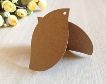 50x Leaf Natural Kraft Paper Tags for Bomboniere Favour Box Wedding Party Christmas Gift Embellishment 7x4cm
