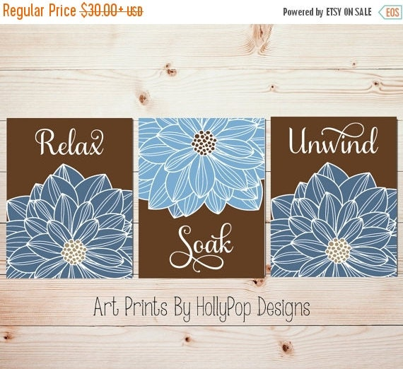 Bathroom wall art blue brown spa bathroom art prints bathroom for Blue bathroom wall decor