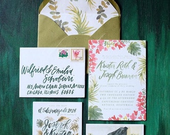 Custom Watercolor Wedding Invitation Suite / Custom Wedding Invitation / Bohemian Wedding