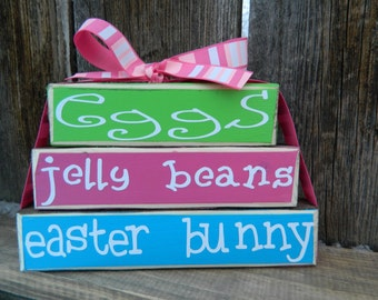Easter wood Mini stacker blocks-Eggs, Jelly Beans,Easter bunny wood blocks