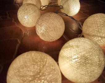 Beige Chirtsmas Ball Lights for home decoration,wedding patio,indoor string lights,bedroom fairy lights,20 Bulbs