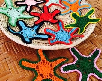 Get 10 Star, Leaves Crochet handmade for curtain decoration,Starfish Pattern, Crochet, Sea Star, Fish, Ocean, Salt Water, Jewelry, Accessory