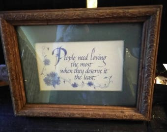Vintage wood framed and matted inspirational quote home decor wall art