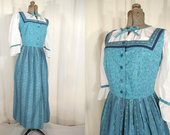 Vintage 1950s Dress - Drindl Plus Size Dress, Blue Shirtwaist Dress XL, Large German Beer Bar Maid Oktoberfest 50s Folk Dress