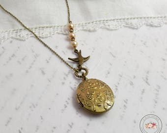 Oval swallow locket necklace christmas gift for her xmas romantic rustic