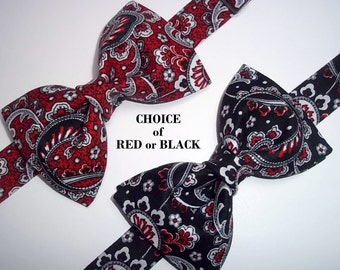 Red Paisley Bow Tie-Black Paisley Bow Tie-Black Red Grey White Paisley Bow Tie-Christmas Bow Tie-Holiday Bow Tie