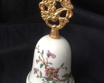 "GORHAM CHINA BELL ""Secret Garden"" pattern Fine Bone China Golden handle with a butterfly Easter Mother's Day Gift Gs3b-324"