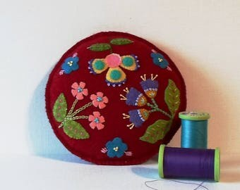 Handmade Whimsical Felted Wool Embroidered Crazy Patch Pincushion