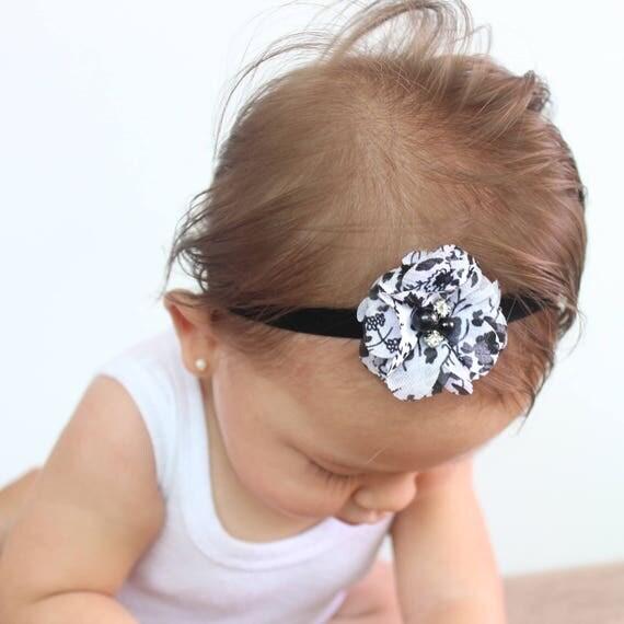 Black Baby Headband, Elastic Headband, Flower Headband, Baby Headband, Black Headband, Headband for Wedding, Baby Headpiece
