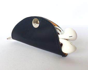 Cordelia Cord Wrap:  Two-tone leather wrap in black and saffron yellow