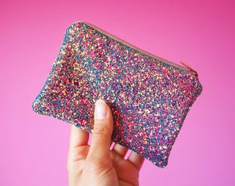 Purple Rainbow Glitter Coin Purse, Purple Glitter Zipped Purse, Sparkly Coin Purse, Glitter Card Holder, Purple Coin Purse,