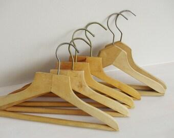 Wood Clothes Hangers, Simple Wooden Coat Hangers, Vintage Clothing Hangers Set of 6, Closet Organization