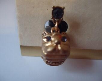 Betsey Johnson Vintage Bulldog Gold Pierced Earrings