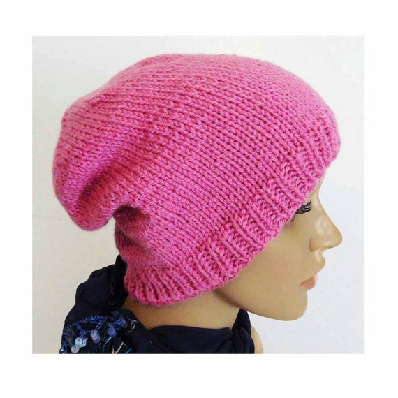 Knitting Hat For Women : Knitting pattern knit slouchy beanie womens