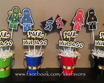Ninja / Ninjago Centerpieces / Boys Birthday Centerpiece - 4 sticks PLUS pail