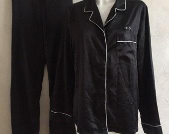 SATIN black 2 piece suit pyjama shiny vtg size S