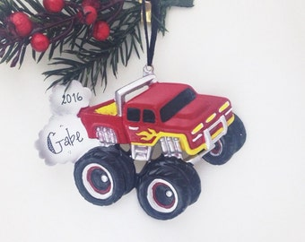 FREE SHIPPING Red and Yellow Monster Truck Personalized Christmas Ornament / Child Ornament / Little Boy Ornament / Toddler Ornament