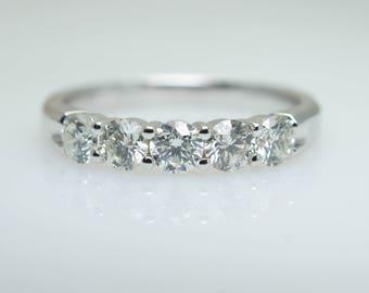 High Grade 5 Stone .75CTW Diamond Anniversary Band in 14k White Gold Wedding Band Wedding Ring Jewelry