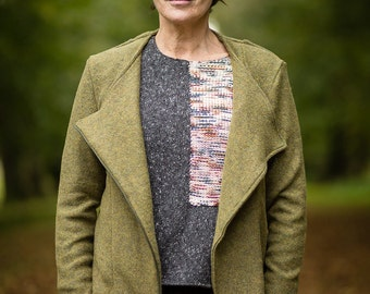 Moto Jacket in Olive Green Felted Pure New Wool by Crooked Knitwear