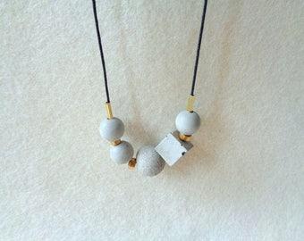 Concrete Beads Necklace, Handcast Necklace, Industrial Necklace,