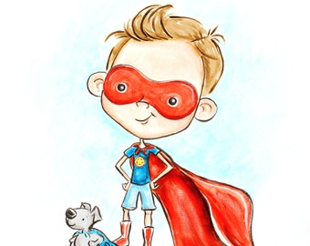 super boy/ light brown hair/ super hero boy/ boys room/ childrens wall art/ painting/ art for boys room/ Red/ Blue