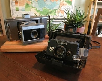 Vintage 1970s Polaroid Camera Lot - Land Camera Model J66 and EE 100 Special