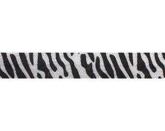 "Black & White Zebra Stripes -  5 Yards Printed FOE - 5/8"" Fold Over Elastic - 5/8-P-160"