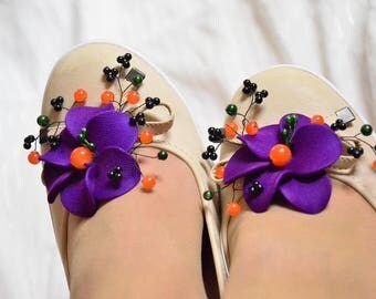 Purple and orange shoe clips Bridesmaid shoe clips Purple shoe clips Bridal flower for shoe Shoe clips Bridesmaid gift