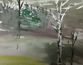 Scenic Landscape- Valley-Trees- Plein Aire-ORIGINAL Watercolor Painting-not a print-9x12