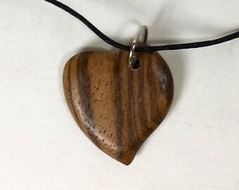 Zebrawood Heart Pendant