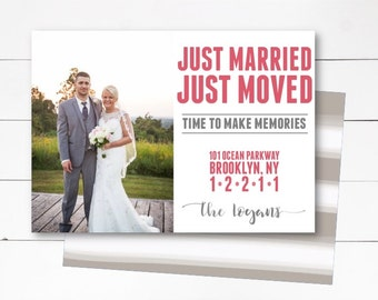 Just Married Announcement, Just Moved Announcement, Moving Announcement, Photo Wedding Announcement, Married and Moving, DIY or Printed