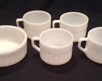Federal Glass white milk glass barrel pattern 4 mugs and one bowl