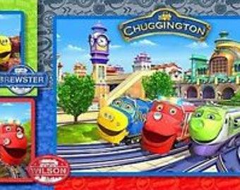 "Blue Chuggington Leaving the Station Fabric Panel Children 24x44"" Free Post"