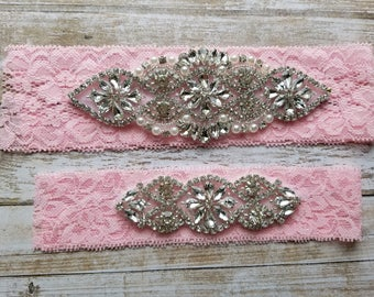 Sale -Wedding Garter and Toss Garter-Crystal Rhinestones - Light Pink Lace - Style G20903PK