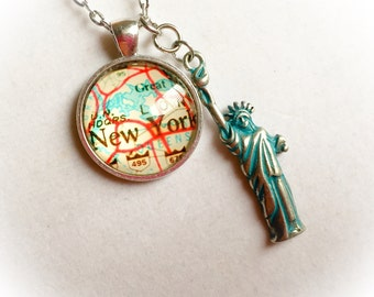 New York, New York map, vintage New York map, map jewelry, vintage map necklace, Statue of Liberty jewelry, map necklace, vintage map gifts