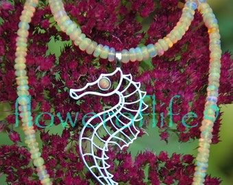 Seahorse pendant (2 1/8 x 7/8 inch) - Stainless Steel with orange Ethiopian opals necklace